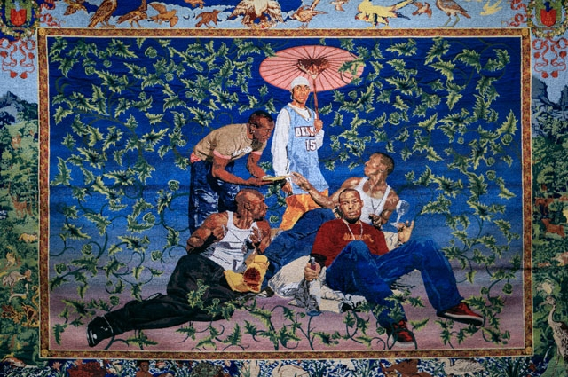 A tapestry by Kehinde Wiley featuring five young men reclining with a floral background featuring birds