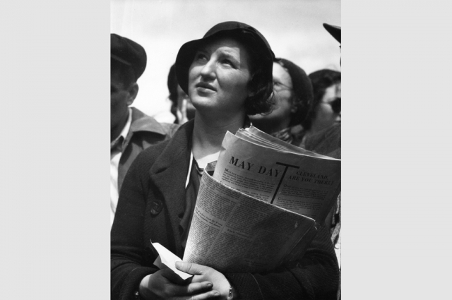 Dorothea Lange, May Day Listener at Rally, circa 1934. © The Dorothea Lange Collection, the Oakland Museum of California, City of Oakland. Gift of Paul S. Taylor.