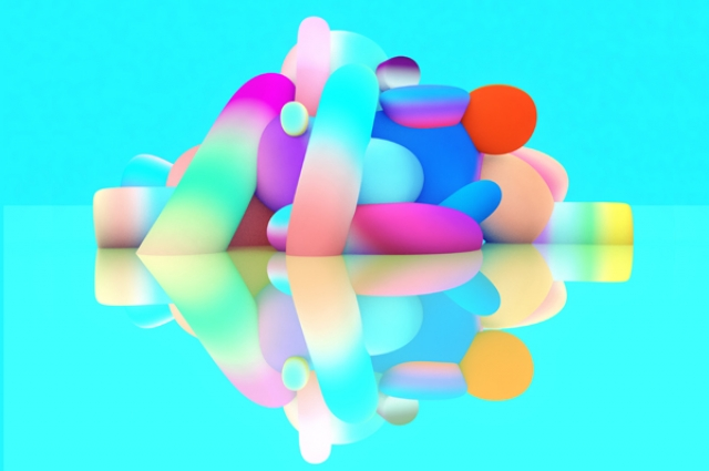 Rendering of a multicolored inflatable sculpture by artists FriendsWithYou for the Oakland Museum of California