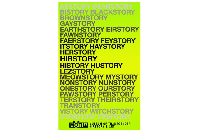 A green poster with black text that repeats sexualities and identities before the word 'story' over and over in black text