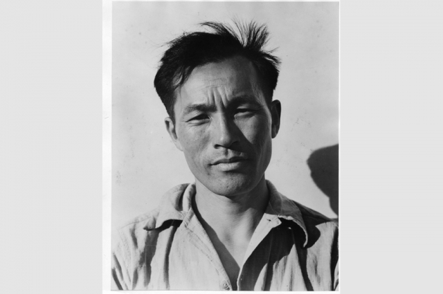 Dorothea Lange, Young Man at Manzanar Relocation Center, 1942. Collection of the Oakland Museum of California, gift of Paul S. Taylor.