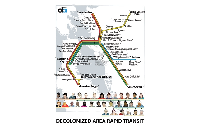 A BART map with the names of the stops changed to Bay Area icons