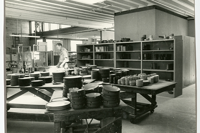 Black and white photograph inside of the Heath factory.