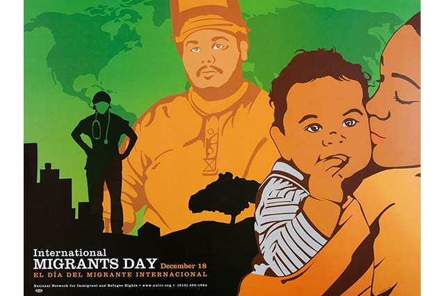 Artwork of a woman holding a baby in the foreground, a silhouette of a doctor and a man in a cap in the background. The text reads: International Migrants Day. December 18. El dia del migrante internacional
