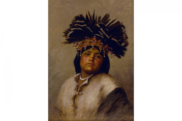 Grace Carpenter Hudson, To-Tole (The Star), 1894. Oil on canvas, H: 19.25 in, W: 10.25 in. Gift of Mrs. Leon Bocqueraz