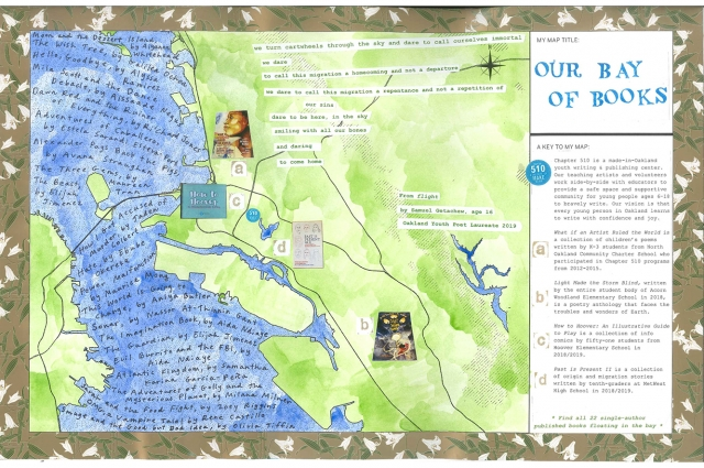 Stylized map of Oakland with printed text explaining the Chapter 510 youth writing center