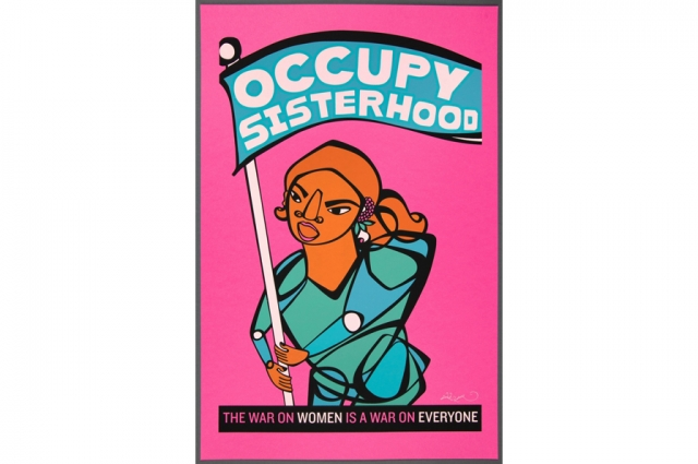 "Favianna Rodriguez, Untitled (Occupy Sisterhood), 2012. Screen print, H: 19.125 in, W: 12.5625 in. Gift of the artist and Yerba Buena Center for the Arts, from ""Occupy Bay Area, 2012"""