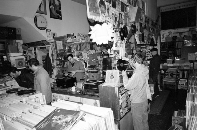 Vinyl: The Sound and Culture of Records. On view at the Oakland Museum of California April 19–July 27, 2014. Image from a series of black and white photographs by artist Raphael Villet who conducted interviews with record collectors and enthusiasts in their homes. Courtesy of the artist.