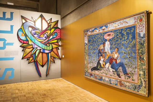 Tapestry by Kehinde Wiley on display in RESPECT: Hip-Hop Style & Wisdom
