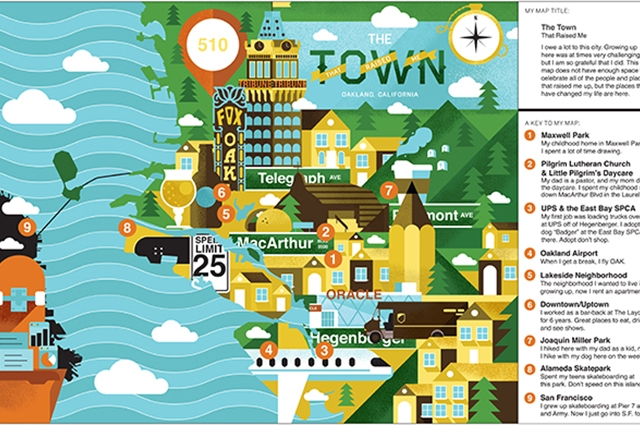 Colorful map of Oakland, CA