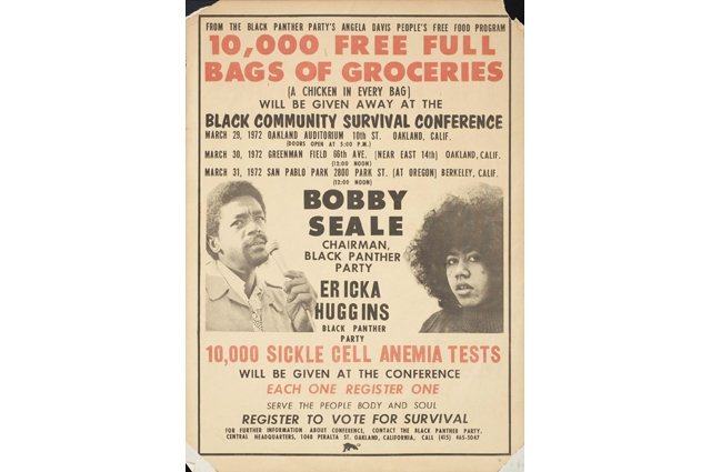 Newspaper page with heavy text calling out: 10,000 free full bags of groceries given away at the Black Community Survival Conference