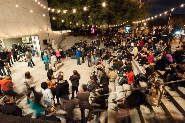 12. Dance lessons take place every Friday Night in the 10th Street Amphitheater, where all are welcome to join in.  Credit: Courtesy of Off the Grid. Photo: Marc Fiorito.