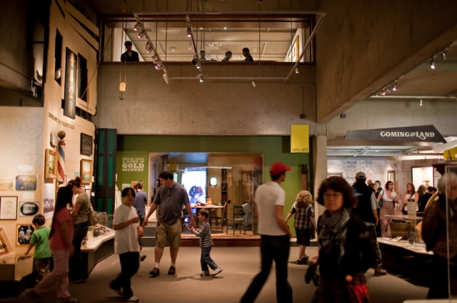 A busy science gallery with a view into the history wing at OMCA