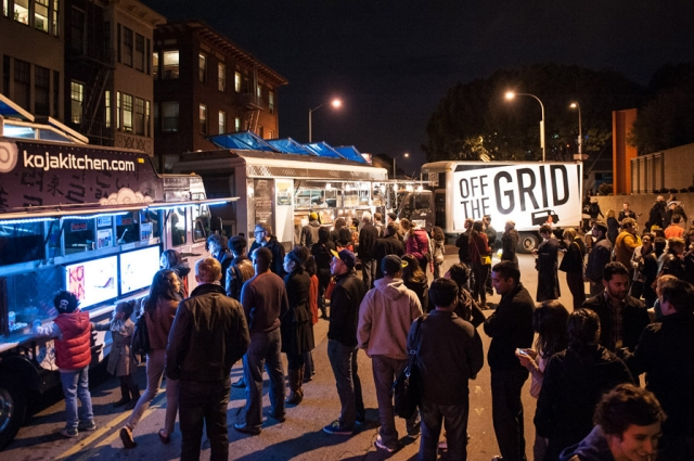 9.  Off the Grid food trucks line 10th Street during Friday Nights @ OMCA, offering an array of Bay Area curbside cuisine.  Credit: Courtesy of Off the Grid. Photo: Marc Fiorito.