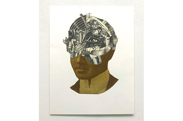 A collage image of a Black man with head open revealing machinery