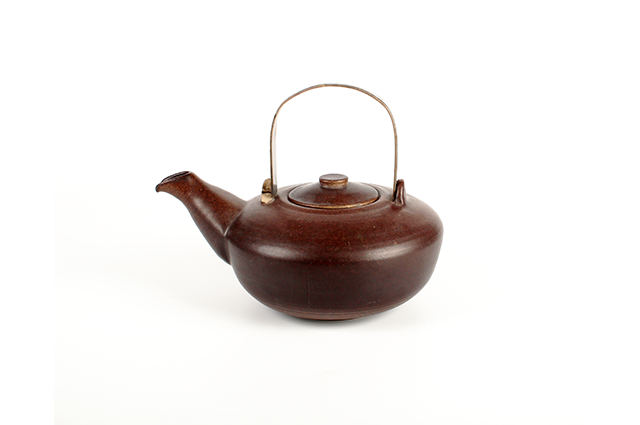 Brown stoneware teapot with sterling silver handle