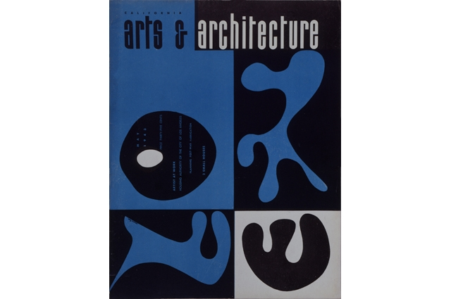 A black and blue image of a magazine cover that reads: arts & architecture