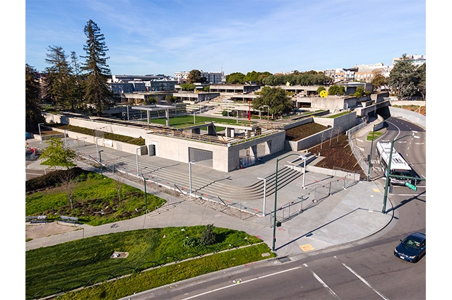 Aerial view of the newly renovated Oakland Museum of California campus and garden.