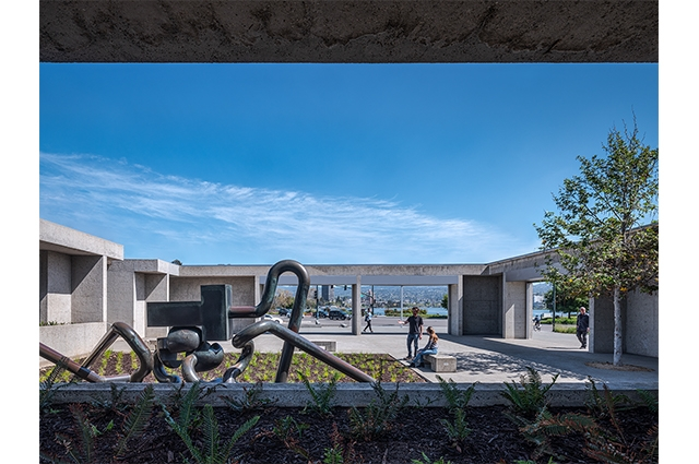 View from inside OMCA's 12th St entrance, looking out towards Lake Merritt and Mr. Ishi sculpture by Peter Voulkos.