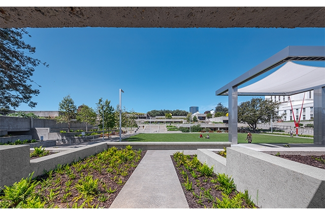 View of OMCA's refreshed tiered gardens (left and central) and new stage (right)