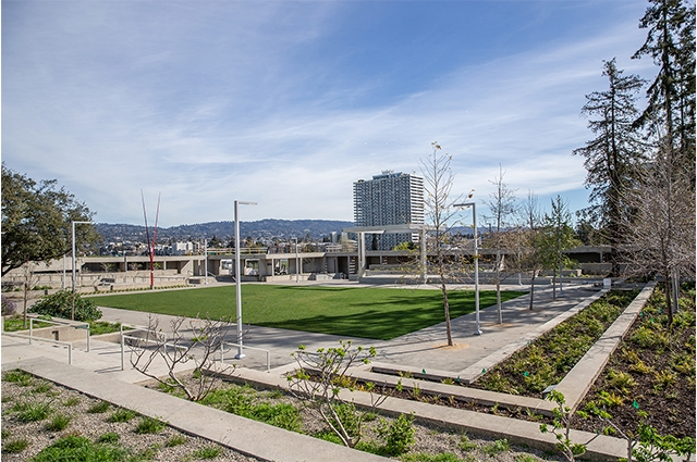 View of OMCA's refreshed tiered gardens and new stage.