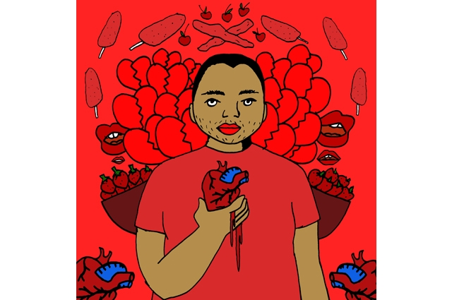 Drawn image of a person holding a heart with images of red objects in a pattern behind them