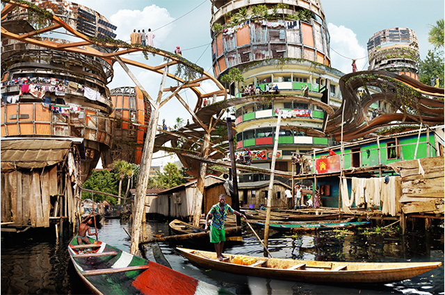 A large village with intricate structures bridging a large canal with boats floating around