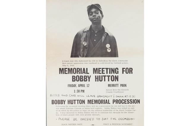 Black and white flyer for a Memorial Meeting for Bobby Hutton in Merritt Park