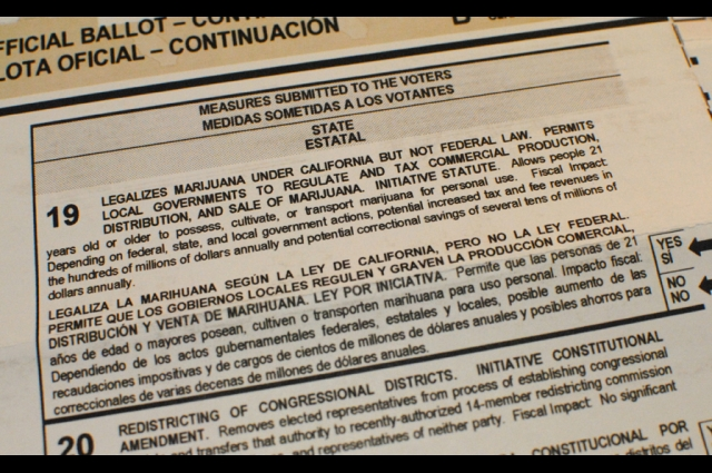 California Ballot Proposition 19, in 2010, put the legalization of Marijuana under California state but not federal law up to a popular vote.  Credit: Brian Cantoni, Creative Commons Attribution 2.0 Generic