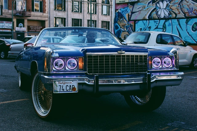 A car in Oakland photographed by Amanda Sade for RESPECT: Hip-Hop Style and Wisdom at the Oakland Museum of California
