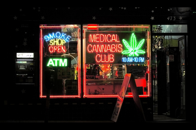 Neon signs in the window of a medical cannabis club on Haight Street in San Francisco. Credit: Thomas Hawk, Medical Cannabis Club, 2005. Creative Commons Attribution-NonCommercial 2.0 Generic