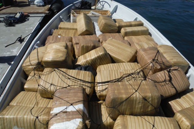 A panga moored dockside in San Diego in 2014, after being apprehended at sea by the U.S. Coast Guard with the assistance of Customs and Border Protection, was carrying 247 bales of marijuana more than 140 miles south of San Diego. Credit: U.S. Coast Guar