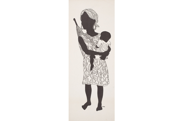 A black and white drawing of a woman carrying a baby