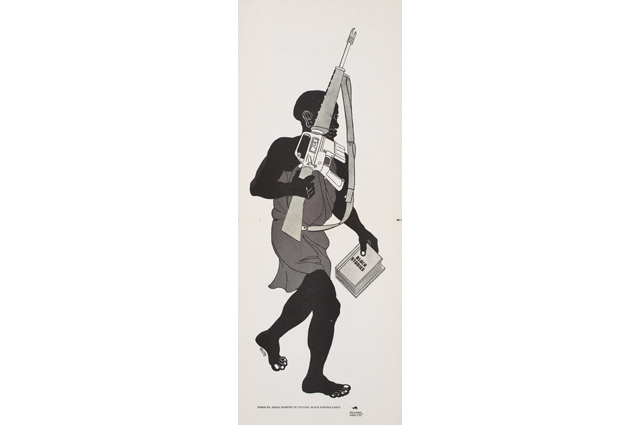 A black and white drawing of a man carrying a rifle and book called: Black Studies