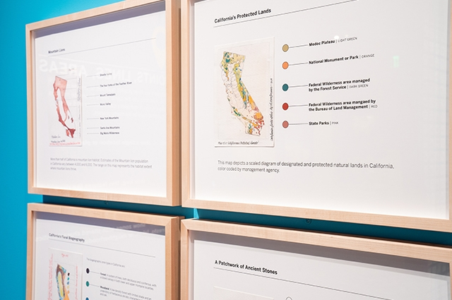 Four illustrated maps of California