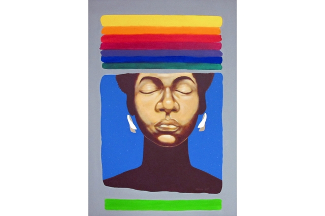 Drawing of a Black woman closing her eyes with colors of the rainbow in stripes above and below her