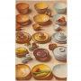 Three columns of dining ware on a table in colors, orange, yellow and light blue