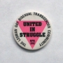 A white button with a pink triangle that reads:The Lesbian Gay Bisexual Transgender Community. United in Struggle