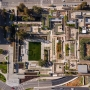 Overhead aerial view of the newly renovated Oakland Museum of California campus and garden.
