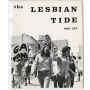 Black and white magazine cover that reads: The Lesbian Tide May 35 cents. Women protesting in foreground