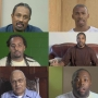 A grid of portraits from the video installation Question Bridge: Black Males