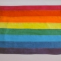 A photo of a flag with 8 colors of the rainbow