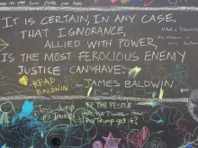 James Baldwin quote on the chalkboard at the Oakland Museum of California