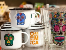 Days of the Dead skeleton skull mugs at the OMCA Store