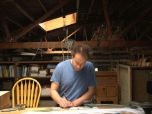 Reuben Margolin planning in his studio.