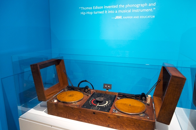 A 1928 Edison turntable on display in RESPECT: Hip-Hop Style and Wisdom at the Oakland Museum of California