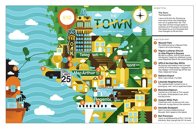 Colorful drawn map of Oakland