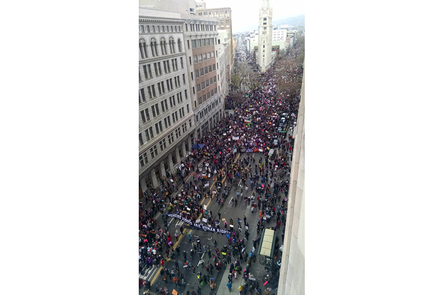 A sixth-floor view of the Women's March from 14th and Broadway.